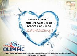 Basen Olimpic otwarty codziennie od 6:00 do 22:00 - serdecznie zapraszamy